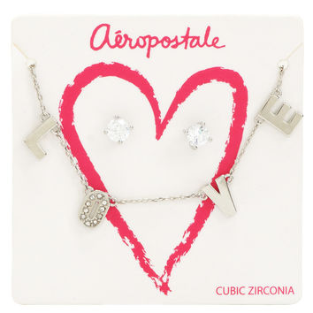 Glitz Stud Earrings & Love Short-Strand Necklace Set