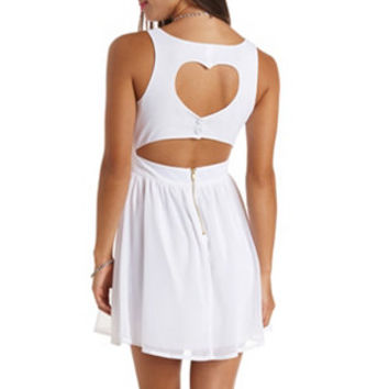 HEART CUT-OUT CHIFFON SKATER DRESS
