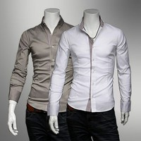Men's Slim Fit Plaid Side Solid Color Long Sleeve Shirts by martEnvy