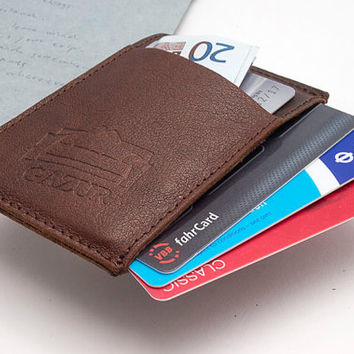BROWN, Leather cardholder, Business cardholder, Small Wallet