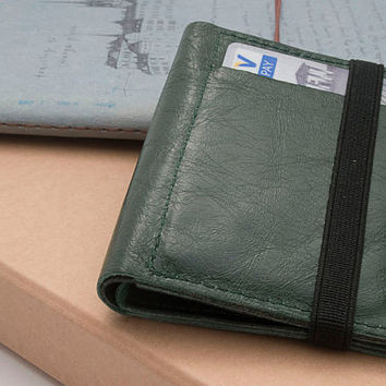 GREEN, Leather handmade men's wallets, Small leather wallet