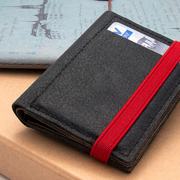 BLACK, Leather handmade men's wallets, Small leather wallet