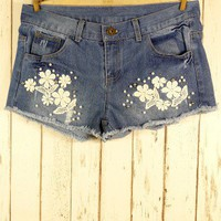 Flower Pearly Cutoff Denim Shorts - Retro, Indie and Unique Fashion