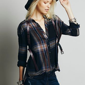 Free People Womens Exploded Plaid Buttondown - Coal Combo,