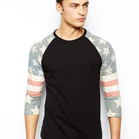 ASOS 3/4 Sleeve T-Shirt With Star Print Sleeves
