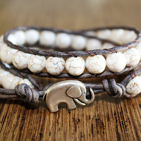 Elephant Bracelet Leather Beaded Wrap Bracelet by theredparachute