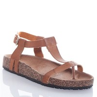 Earth Works T-strap Faux Cork Heel Thong Sandals - Tan
