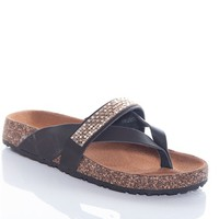 World Traveller Rhinestone Studded Band Thong Sandals - Black