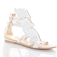 Glamorously Grecian Winged Vamp Sandals - White