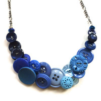 Ombre Blue Vintage Button Fashion Necklace - Shades of Blue