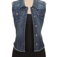 dark wash fray hem denim vest