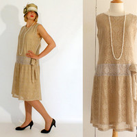 Flapper dress, Great Gatsby dress, old gold 1920s dress, Charleston drop waist dress, summer party, 20s bridesmaid dress, Roaring 20s dress