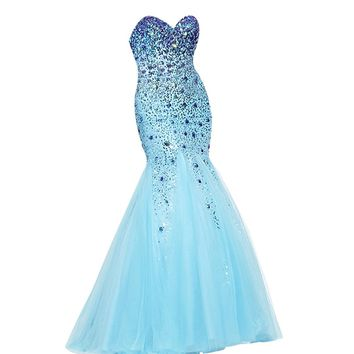 VILAVI Women's Mermaid Strapless Sweetheart Long Tulle Crystal Beading Prom Dresses