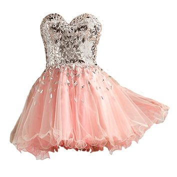 VILAVI Ball Gown Sweetheart Short Tulle Crystal Draped Graduation Dresses