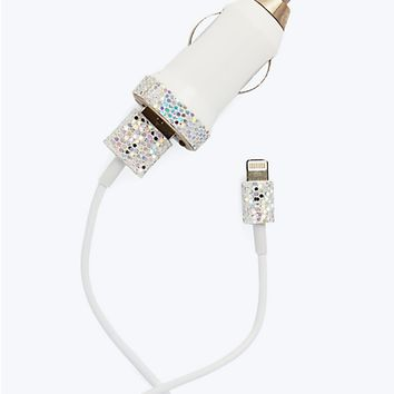 iPhone 5/5C/5S Car Charge Combo Kit in Silver Confetti