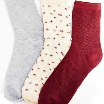 Kimchi Blue Thermal Floral Crew Sock Multi-Pack - Urban Outfitters