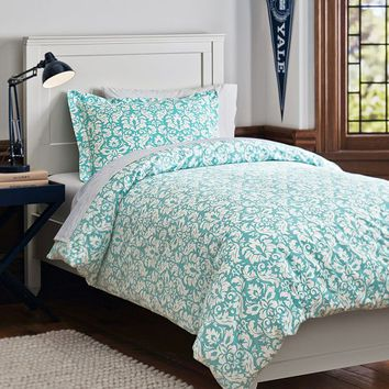 Damask Essential Duvet Value Bedding Set, Pool