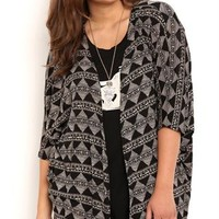 Plus Size Tribal Print Kimono with Elbow Length Sleeves