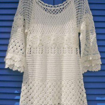 Hand Knit Delicacy of Crochet Dress Beige