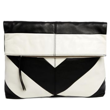 Leather Striped Foldover Clutch Bag