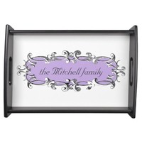 Victorian Frame Lavender Personalized Serving Tray