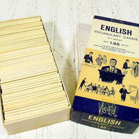 Vintage Vis-Ed English Vocabulary Flash Cards - Retro MadMen Business Era Career Success Collection 1050 Pieces - Black Words on Ivory Cards