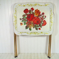 Large Vintage Ivory Enamel Hand Painted Metal Tray Table - Retro Floral ToleWare Space Saving Folding Stand - Mid Century Cal-Dak Crestline