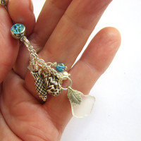 Belly Button Ring Sea Glass and Sea Shell Belly Button Jewelry,  Long Beach Glass Aqua Belly RIngs  ChaiNavel Piercings
