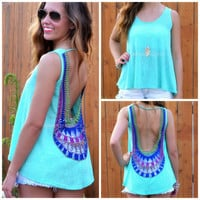 Veracruz Mint Sleeveless Crochet Back Top