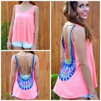 Veracruz Neon Coral Sleeveless Crochet Back Top