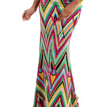 Full of Color Chevron Maxi Skirt