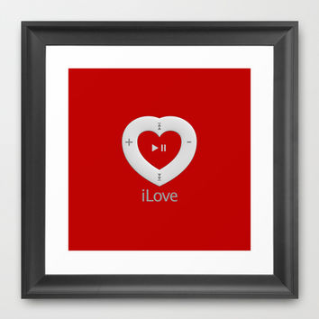iLove red - Framed Art Print by THE-LEMON-WATCH | Society6