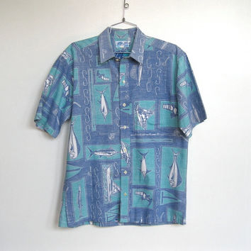 Mens Vintage AFTCO Bluewater Wear / Novelty Fishing / Fish Print / Nautical Button-down Shirt