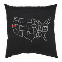 US Map Decorative Pillow Home is Where by countercouturedesign