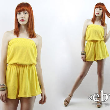 Vintage 80s Yellow Terrycloth Romper S M 80s Romper Terry Romper Yellow Romper High Waisted Shorts Swimsuit Coverup Vintage Playsuit