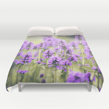 lavender field Duvet Cover by Sylvia Cook Photography