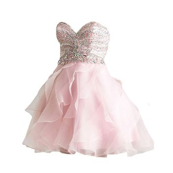 VILAVI A-line Sweetheart Short Organza Crystal Sequin Ruffle Graduation Dresses