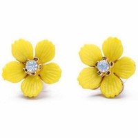 Lovable Rhinestones Yellow Floral Stud Earrings - OASAP.com