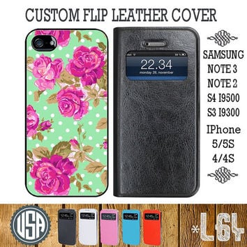 Beautiful Rose Flip Leather Cover @ Samsung Galaxy S4 case , Galaxy S3 , Samsung Note 3 Galaxy Note 2 , IPhone 5 case , 5S , IPhone 4 4S L64