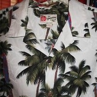 HILO HATTIE HAWAIIAN SHIRT VINTAGE White W Palms &SURF !SIZE 2XL!MADE IN HAWAII