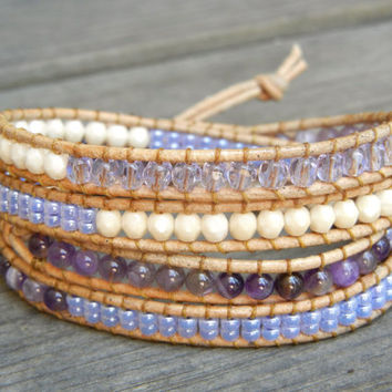 Beaded Leather Wrap Bracelet 4 Wrap with Lilac Lavender Purple Amethyst Beads on Natural Tan Leather