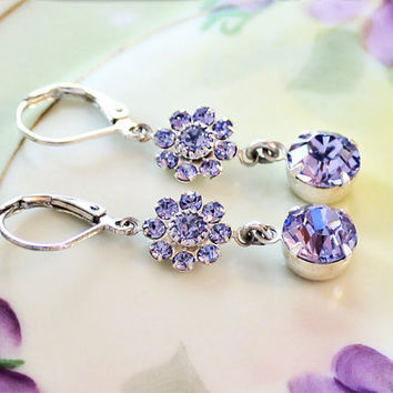 Purple Earrings Lavender Earrings  Lavender Crystal Rhinestones Bridesmaid Jewelry Gift Prom Wedding Jewelry Hollywood Style