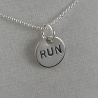 16 inch JUST RUN Sterling Silver Running Necklace by TheRunHome