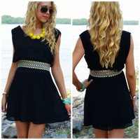 Broadwater Island Black Embroidered Dress