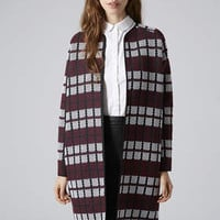 Collarless Check Throw On Coat