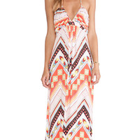 Halter Maxi Dress in Red Western Geometric