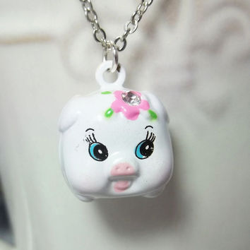 Pig Charm Necklace Little Girl Necklace Birthday Gift Child Gift Pig Jewelry Girls Necklace Friendship Gift
