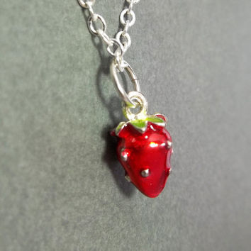 Strawberry Necklace Childrens Gift Little Girl Necklace Red Necklace Jewelry