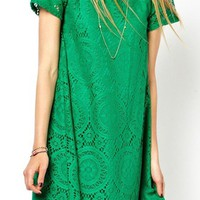 Green O-neck Short Sleeves Lace Dress