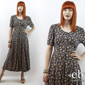 Vintage 90s Navy Floral Midi Dress M L Summer Dress Navy Dress Navy Floral Dress 90s Grunge Dress 90s Floral Dress Floral Maxi Dress